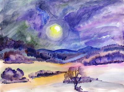 Painting - Winter Landscape With Full Moon by Dobrotsvet Art