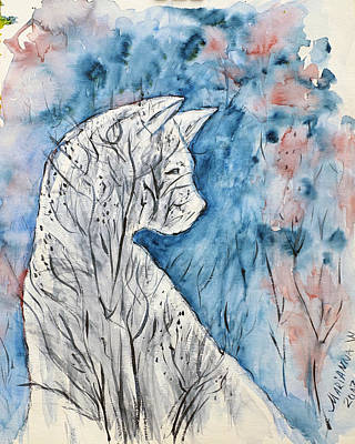 Painting - Winter Melancholy of White Cat by Marianna MO Warr