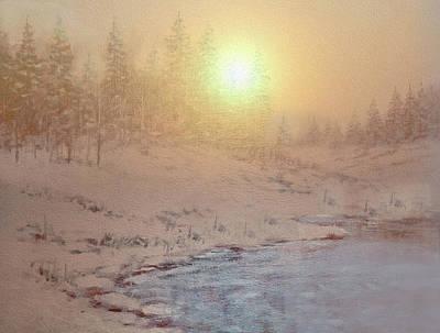 Comic Character Paintings - Winter Morning By The Lake by Johanna Hurmerinta