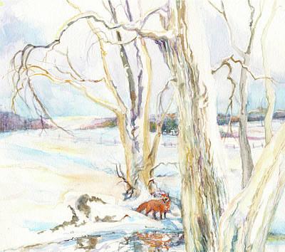 Painting - Winter Morning Fox by Nancy Watson