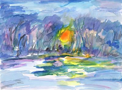 Painting - Winter Morning Landscape by Dobrotsvet Art