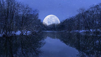 Photograph - Winter Night On The Pond by John Rivera