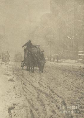 Photograph - Winter On Fifth Avenue, 1893 by Alfred Stieglitz