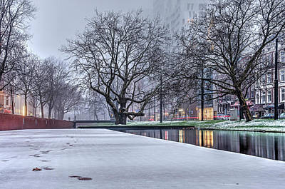 Photograph - Winter On The Quay Of The Canal by Frans Blok