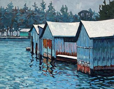 Painting - Winter Outlet Boat Houses by Phil Chadwick