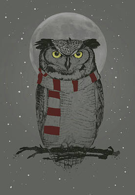 Funny Mixed Media - Winter Owl by Balazs Solti