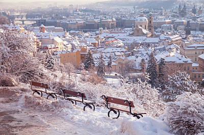 Photograph - Winter Panorama Of Snowy Prague by Jenny Rainbow