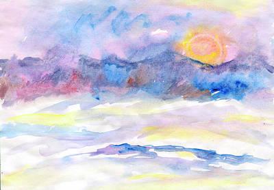 Keith Richards - Winter river at sunset by Irina Dobrotsvet