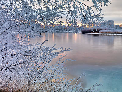 Photograph - Winter River Gold by Leland D Howard