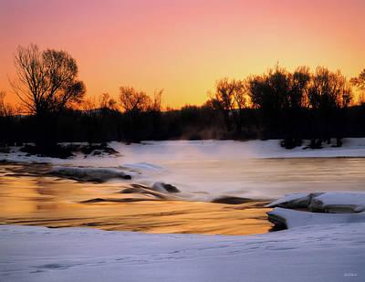 Photograph - Winter River Sunrise by Leland D Howard