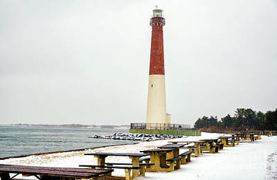 Photograph - Winter Snow Barnegat Lighthouse by John Rizzuto