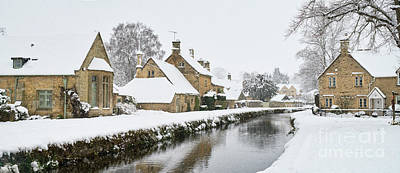 Photograph - Winter Snow In Lower Slaughter Village Panoramic by Tim Gainey