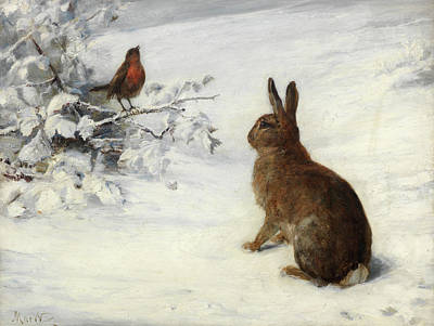 European Hare Wall Art - Painting - Winter Song by John MacWhirter