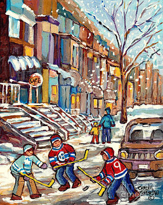 Painting - Winter Staircases Hockey Art Montreal Paintings Downtown Scenes Verdun Plateau Psc Streets C Spandau by Carole Spandau