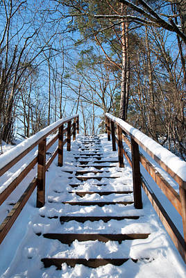 Photograph - Winter Stairs by Ramunas Bruzas
