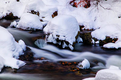 Photograph - Winter Stream With Snowy Islands 1 by Jenny Rainbow
