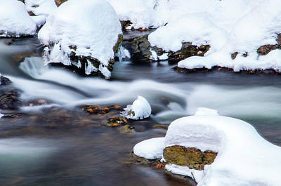 Photograph - Winter Stream With Snowy Islands 3 by Jenny Rainbow