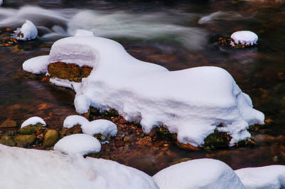 Photograph - Winter Stream With Snowy Islands by Jenny Rainbow