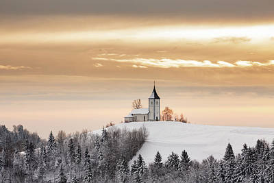 Photograph - Winter Sunrise At Jamnik Church Of Saints Primus And Felician by Ian Middleton
