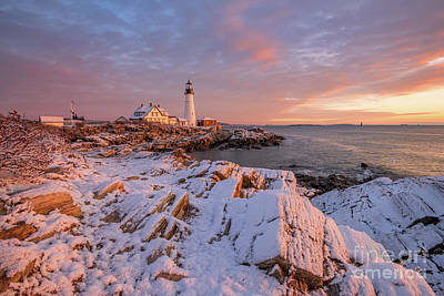 Photograph - Winter Sunrise At Portland Head Light by Jesse MacDonald