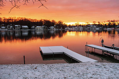 Photograph - Winter Sunrise Gull Lake Michigan by Mary Lee Dereske