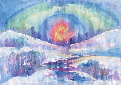 Painting - Winter Sunset by Irina Dobrotsvet