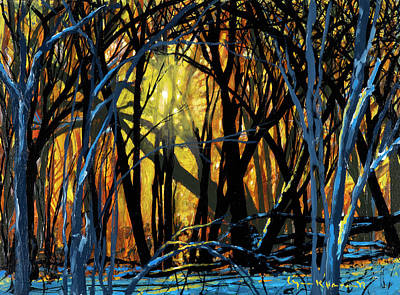 Painting - Winter Sunset In The Forest by Lynn Hansen