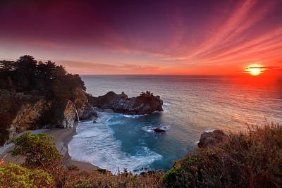 Photograph - Winter Sunset, Mcway Falls by Don Smith