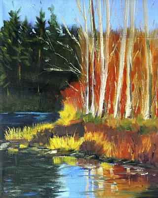 Painting - Winter Sunshine Landscape by Nancy Merkle