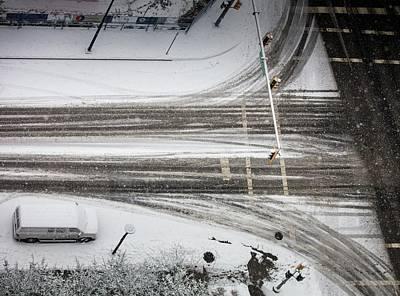 Photograph -  Winter Tireprints No. 2 by Juan Contreras