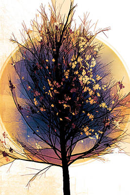 Digital Art - Winter Tree In Golds  by Debra and Dave Vanderlaan