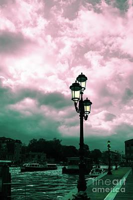Winter Venice Lantern On The Embankment Art Print