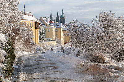 Photograph - Winter View Of St Vitus Cathedral And Hradcany  by Jenny Rainbow