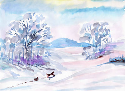 Painting - Winter Walk Of Dogs by Dobrotsvet Art