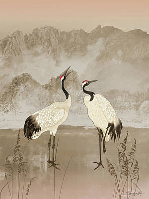 Mixed Media - Wintering Manchurian Cranes by Spadecaller
