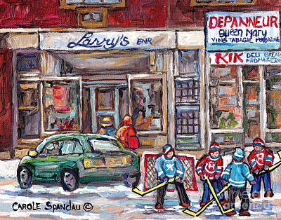 Painting - Winterscene Hockey Game Queen Mary Road Snowdon Montreal Storefront Larry's Shoes C Spandau Artist by Carole Spandau