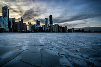 Photograph - Wintry Dusk Scene On Chicago's Lakefront  by Sven Brogren