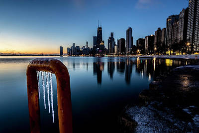 Photograph - Wintry Lakefront Scene In Chicago  by Sven Brogren