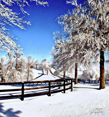Digital Art - Wintry Lane by CAC Graphics