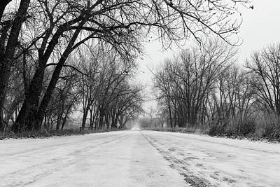 Photograph - Wintry Road In Black And White by Tony Hake