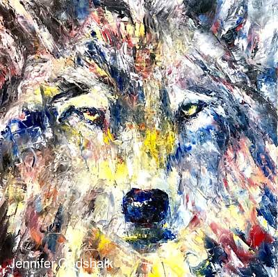 Painting - Wolf Contemporary Art by Jennifer Morrison Godshalk