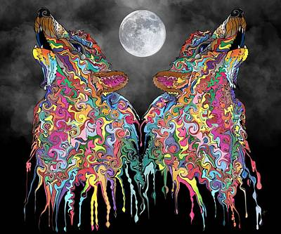 Digital Art - Wolf Song by Mark Taylor