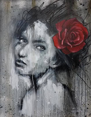 Mixed Media - Woman And The Rose by Shane Grammer