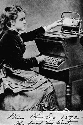 Woman At A Typewriter Art Print by Hulton Archive