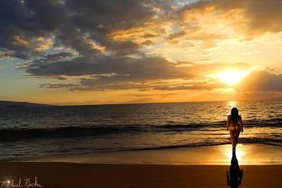 Woman At Maui Sunset Original