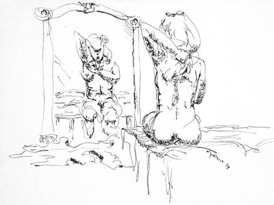 Wall Art - Drawing - Woman Bathing by Dave Martsolf