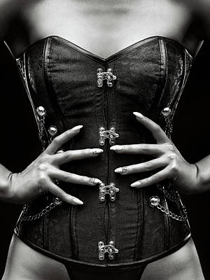 Black And White Horse Photography - Woman corset close-up by Johan Swanepoel
