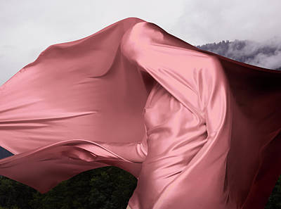 Photograph - Woman Covered In Pink Material Outdoors by Tara Moore