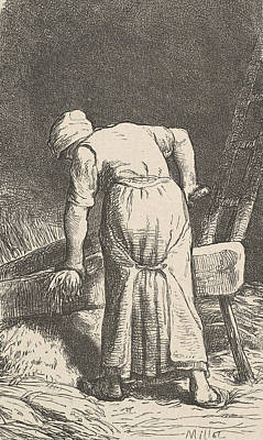 Relief - Woman Cutting Wheat by Jean-Francois Millet