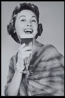 Holding Photograph - Woman Drinking Beer, 1950s by Archive Holdings Inc.